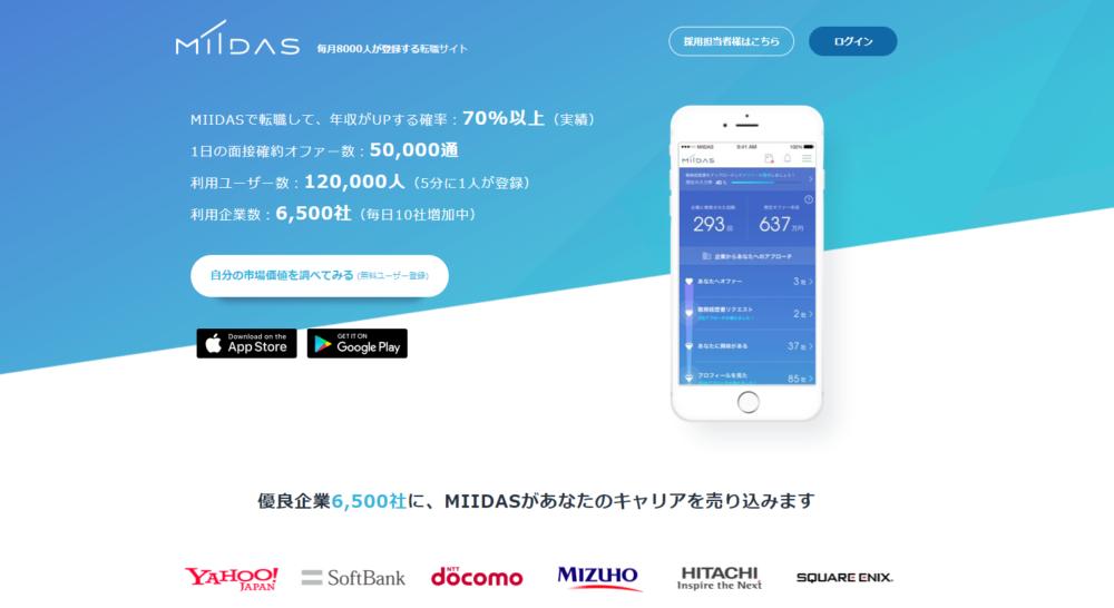 面接確約の転職サイト「miidas」